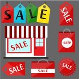 Sistema de rojo de la venta de las etiquetas engomadas Imágenes de archivo libres de regalías