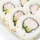 Sistema de rollos de sushi aislados Imágenes de archivo libres de regalías