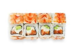 Sistema de rollos de sushi aislados en el blanco Fotos de archivo