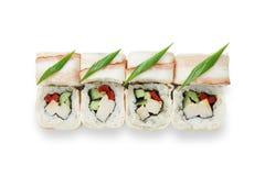 Sistema de rollos de sushi aislados en el blanco Foto de archivo libre de regalías