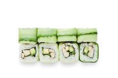 Sistema de rollos de sushi aislados en el blanco Foto de archivo