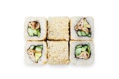 Sistema de rollos de sushi aislados en el blanco Fotos de archivo libres de regalías