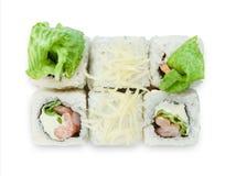 Sistema de rollos de sushi aislados en el blanco Imágenes de archivo libres de regalías