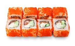 Sistema de rollos de sushi aislados en el blanco Fotografía de archivo