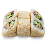 Sistema de rollos de sushi aislados en el blanco Fotografía de archivo libre de regalías