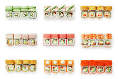 Sistema de rollos de sushi aislados en el blanco Imagen de archivo libre de regalías