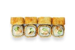 Sistema de rollos de sushi del tempura aislados en el blanco Imagenes de archivo