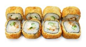 Sistema de rollos de sushi del tempura aislados en el blanco Fotos de archivo libres de regalías