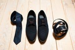 Sistema de ropa de caballero casual en azul Foto de archivo