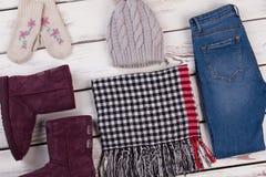 Sistema de ropa del invierno Imagen de archivo libre de regalías