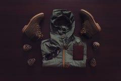Sistema de ropa para el hombre del viajero Foto de archivo libre de regalías