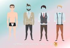 Sistema de ropa para el novio en estilo de la historieta Imagen de archivo libre de regalías