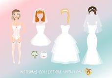 Sistema de ropa para la novia en estilo de la historieta imagen de archivo libre de regalías