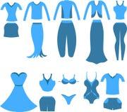 Sistema de ropa para las mujeres y las muchachas Ilustración del vector Foto de archivo