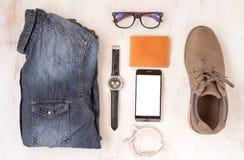 sistema de ropa para los hombres fotografía de archivo libre de regalías
