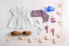 Sistema de ropa y de accesorios del bebé Fotografía de archivo libre de regalías