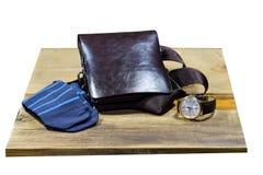 Sistema de ropa y de accesorios elegantes de moda del ` s de los hombres Reloj, calcetines y bolso elegantes del ` s de los hombr Foto de archivo