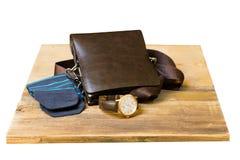 Sistema de ropa y de accesorios elegantes de moda del ` s de los hombres Reloj, calcetines y bolso elegantes del ` s de los hombr Imagen de archivo