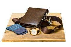 Sistema de ropa y de accesorios elegantes de moda del ` s de los hombres Reloj, calcetines y bolso elegantes del ` s de los hombr Imágenes de archivo libres de regalías