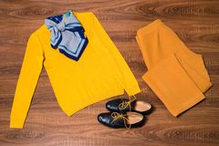 Sistema de ropa y de accesorios femeninos elegantes Imagen de archivo libre de regalías