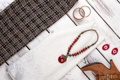 Sistema de ropa y de accesorios femeninos de la moda Imágenes de archivo libres de regalías