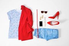 Sistema de ropa y de accesorios femeninos de moda Imagen de archivo