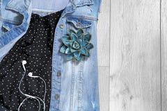 Sistema de ropa y de accesorios femeninos de moda Foto de archivo libre de regalías