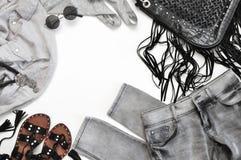 Sistema de ropa y de accesorios grises y negros Imágenes de archivo libres de regalías