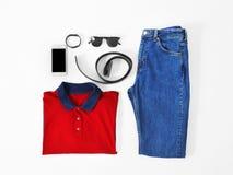 Sistema de ropa y de accesorios masculinos de moda Foto de archivo libre de regalías