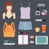 Sistema de ropa y de accesorios de las mujeres Foto de archivo libre de regalías