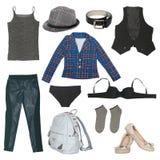 Sistema de ropa y de accesorios femeninos Fotografía de archivo libre de regalías