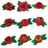 Sistema de rosas del estilo del tatuaje Diseñe el elemento para el cartel, tarjeta, bandera, camiseta ilustración del vector
