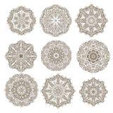 Sistema de rosetón-copos de nieve decorativos Foto de archivo libre de regalías