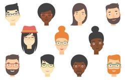 Sistema de rostros humanos que expresan emociones positivas stock de ilustración