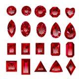 Sistema de rubíes rojos realistas con diversos cortes Fotos de archivo libres de regalías
