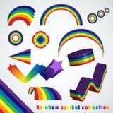 Sistema de símbolo del arco iris stock de ilustración