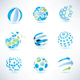 Sistema de símbolo del globo, comunicación e iconos abstractos de la tecnología Foto de archivo libre de regalías