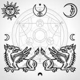 Sistema de símbolos alquímicos: dos grifos míticos, círculo alquímico, emblemas del sol y luna, ojo de la providencia libre illustration