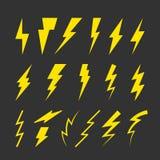 Sistema de símbolos amarillos del rayo ilustración del vector