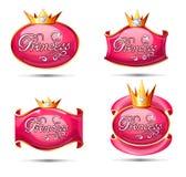 Sistema de símbolos brillante de la princesa stock de ilustración