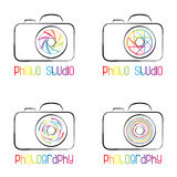 Sistema de símbolos, de iconos, de logotipos y de etiquetas de la cámara de la foto Fotos de archivo