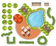Sistema de símbolos de la copa, para el diseño arquitectónico o del paisaje stock de ilustración