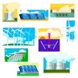 Sistema de símbolos de la energía de Eco Ilustración del vector Imágenes de archivo libres de regalías