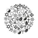 Sistema de símbolos de las religiones del mundo de iconos en el círculo eps10 Imagen de archivo