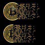 Sistema de símbolos de oro del bitcoin crypto de la moneda Fotografía de archivo libre de regalías