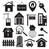 Sistema de símbolos de Real Estate Fotografía de archivo libre de regalías
