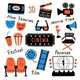 Sistema de símbolos del cine con las letras de la tinta El tiempo de película y 3d los vidrios, palomitas, clapperboard, boleto,  ilustración del vector
