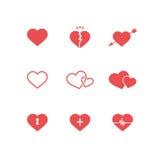 Sistema de símbolos del corazón Imagen de archivo libre de regalías