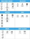 Sistema de símbolos del cuidado de la ropa Fotos de archivo