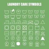 Sistema de símbolos del cuidado del lavadero Fotos de archivo